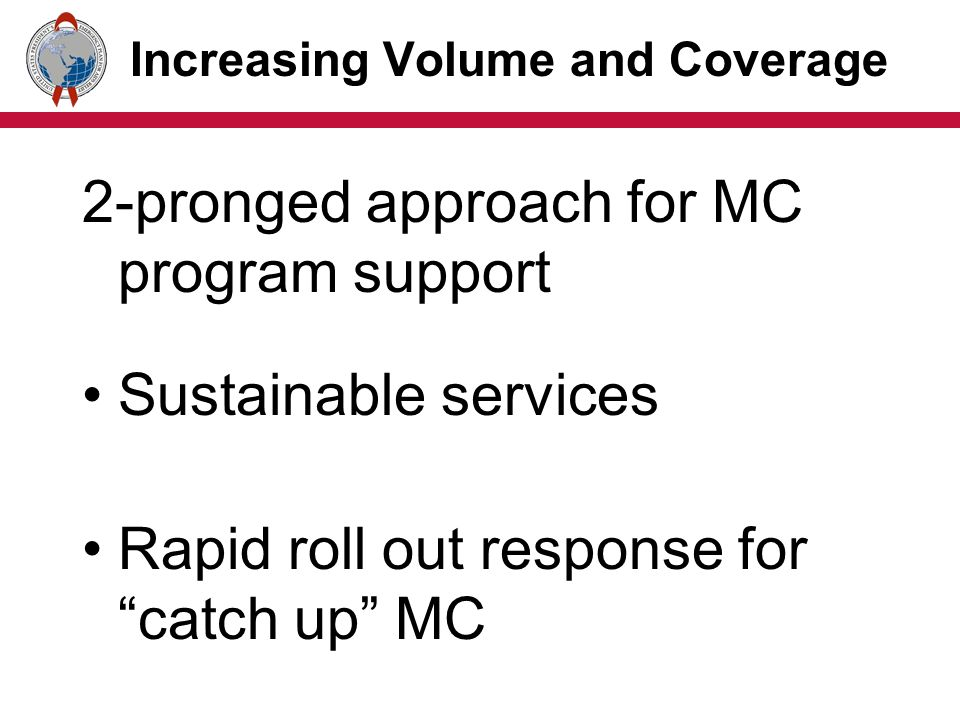 Increasing Volume and Coverage 2-pronged approach for MC program support Sustainable services Rapid roll out response for catch up MC