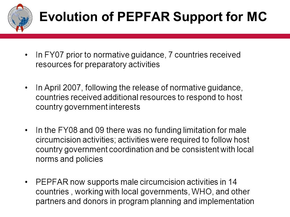Evolution of PEPFAR Support for MC In FY07 prior to normative guidance, 7 countries received resources for preparatory activities In April 2007, following the release of normative guidance, countries received additional resources to respond to host country government interests In the FY08 and 09 there was no funding limitation for male circumcision activities; activities were required to follow host country government coordination and be consistent with local norms and policies PEPFAR now supports male circumcision activities in 14 countries, working with local governments, WHO, and other partners and donors in program planning and implementation
