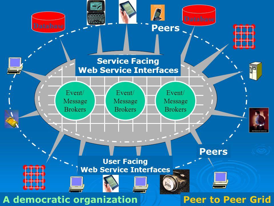 5 Peer to Peer Grid Database Peers Peer to Peer GridA democratic organization User Facing Web Service Interfaces Service Facing Web Service Interfaces