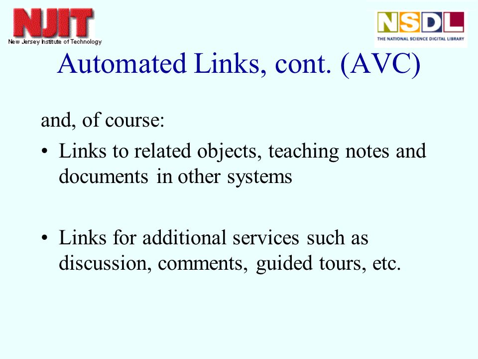 Automated Links, cont.