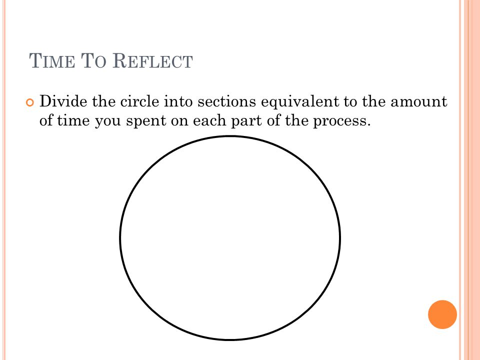 T IME T O R EFLECT Divide the circle into sections equivalent to the amount of time you spent on each part of the process.
