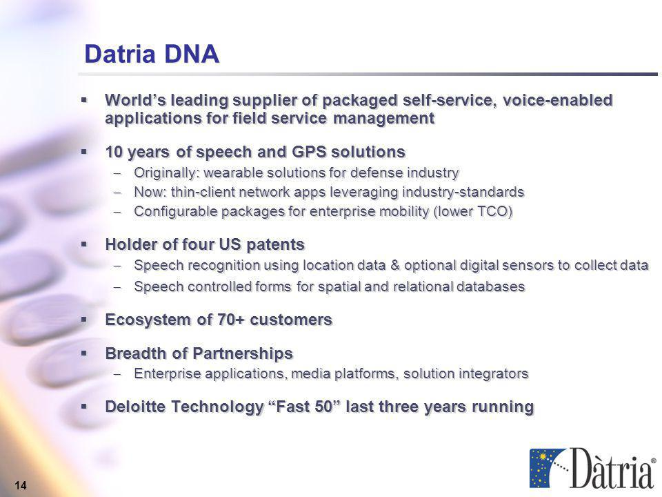 14 Datria DNA Worlds leading supplier of packaged self-service, voice-enabled applications for field service management 10 years of speech and GPS solutions Originally: wearable solutions for defense industry Now: thin-client network apps leveraging industry-standards Configurable packages for enterprise mobility (lower TCO) Holder of four US patents Speech recognition using location data & optional digital sensors to collect data Speech controlled forms for spatial and relational databases Ecosystem of 70+ customers Breadth of Partnerships Enterprise applications, media platforms, solution integrators Deloitte Technology Fast 50 last three years running Worlds leading supplier of packaged self-service, voice-enabled applications for field service management 10 years of speech and GPS solutions Originally: wearable solutions for defense industry Now: thin-client network apps leveraging industry-standards Configurable packages for enterprise mobility (lower TCO) Holder of four US patents Speech recognition using location data & optional digital sensors to collect data Speech controlled forms for spatial and relational databases Ecosystem of 70+ customers Breadth of Partnerships Enterprise applications, media platforms, solution integrators Deloitte Technology Fast 50 last three years running