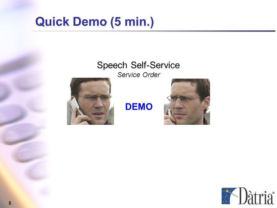5 Quick Demo (5 min.) Speech Self-Service Service Order DEMO