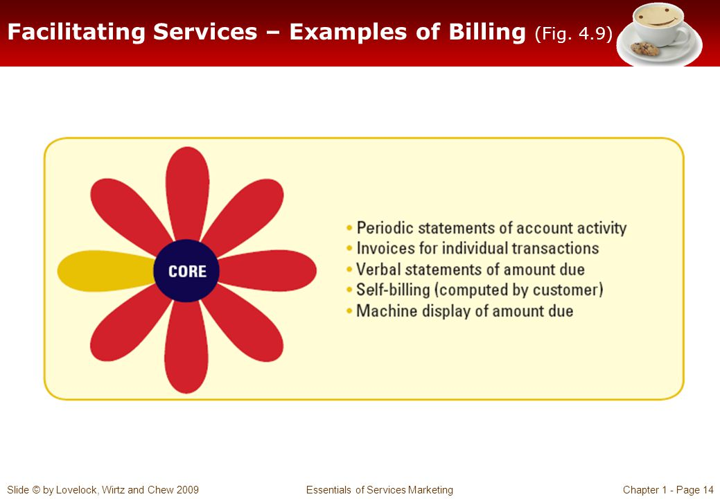 Slide © by Lovelock, Wirtz and Chew 2009 Essentials of Services MarketingChapter 1 - Page 14 Facilitating Services – Examples of Billing (Fig. 4.9)