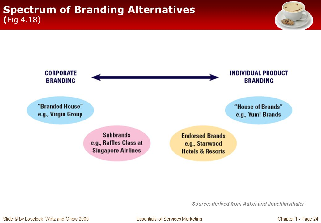 Slide © by Lovelock, Wirtz and Chew 2009 Essentials of Services MarketingChapter 1 - Page 24 Spectrum of Branding Alternatives (Fig 4.18) Source: deri