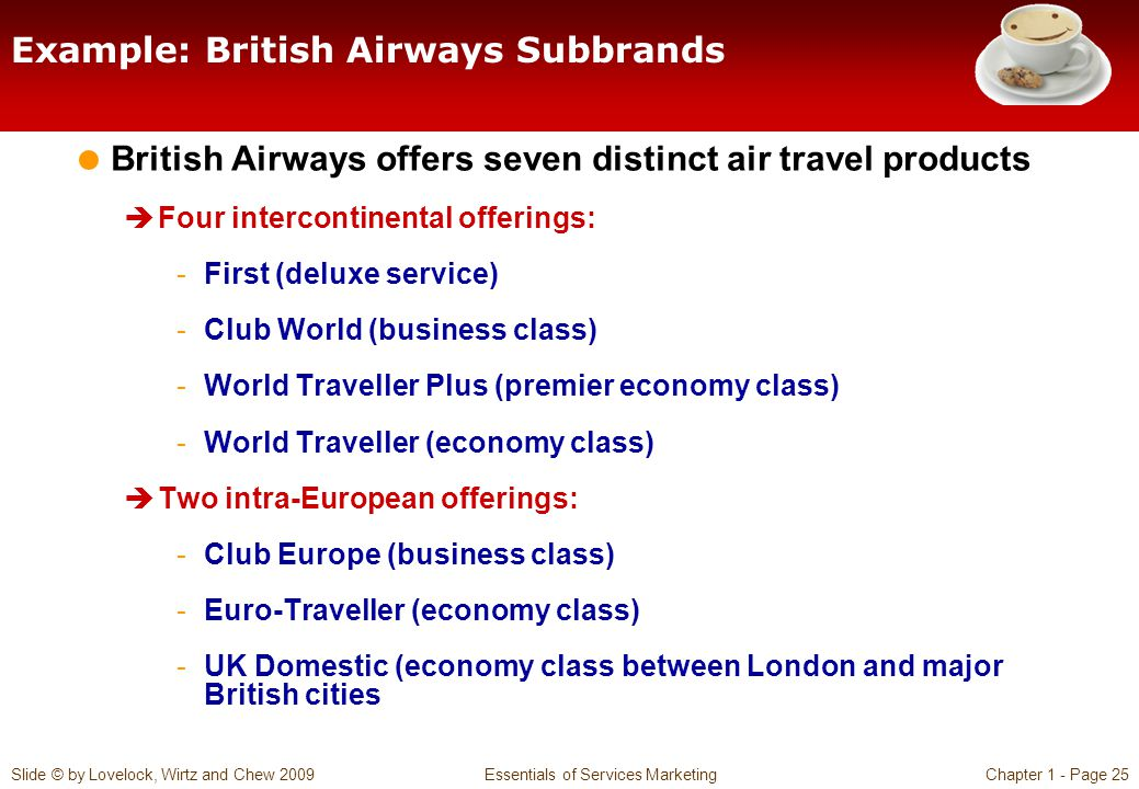 Slide © by Lovelock, Wirtz and Chew 2009 Essentials of Services MarketingChapter 1 - Page 25 Example: British Airways Subbrands British Airways offers seven distinct air travel products Four intercontinental offerings: -First (deluxe service) -Club World (business class) -World Traveller Plus (premier economy class) -World Traveller (economy class) Two intra-European offerings: -Club Europe (business class) -Euro-Traveller (economy class) -UK Domestic (economy class between London and major British cities