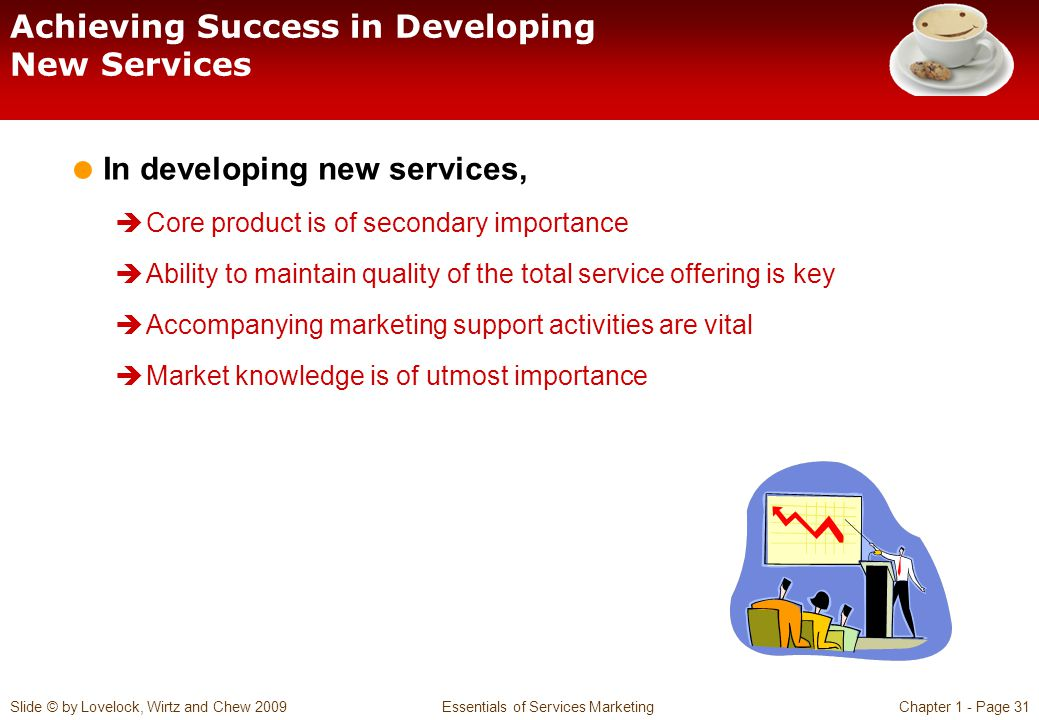 Slide © by Lovelock, Wirtz and Chew 2009 Essentials of Services MarketingChapter 1 - Page 31 Achieving Success in Developing New Services In developin