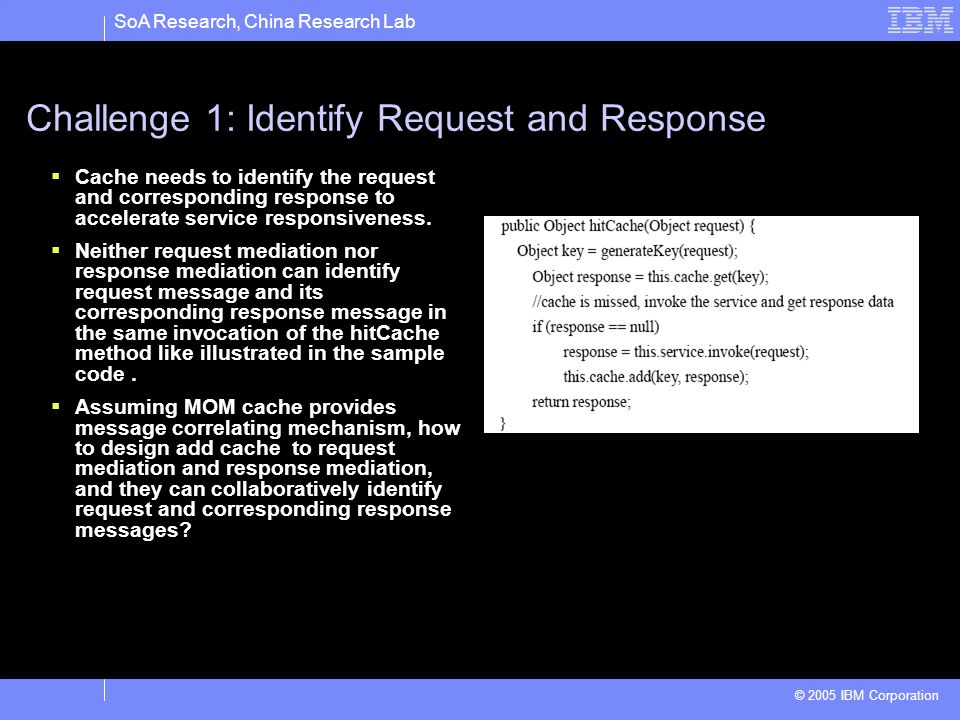 SoA Research, China Research Lab © 2005 IBM Corporation Challenge 1: Identify Request and Response Cache needs to identify the request and correspondi