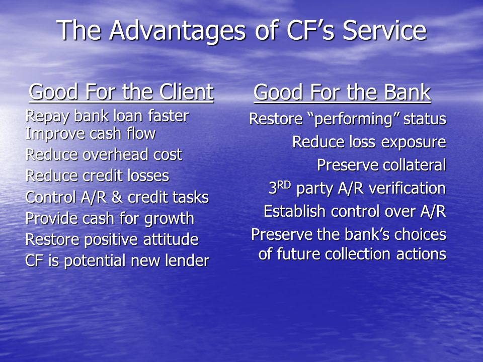CF Program Fees to Banks Clients A one-time set-up fee in the amount of $250.00.