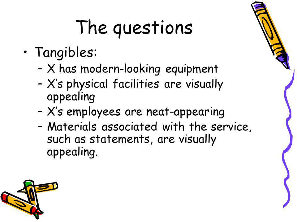 The questions Tangibles: –X has modern-looking equipment –Xs physical facilities are visually appealing –Xs employees are neat-appearing –Materials associated with the service, such as statements, are visually appealing.