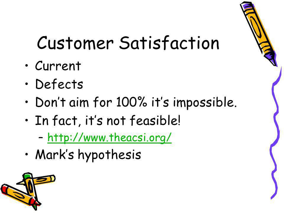 Customer Satisfaction Current Defects Dont aim for 100% its impossible.