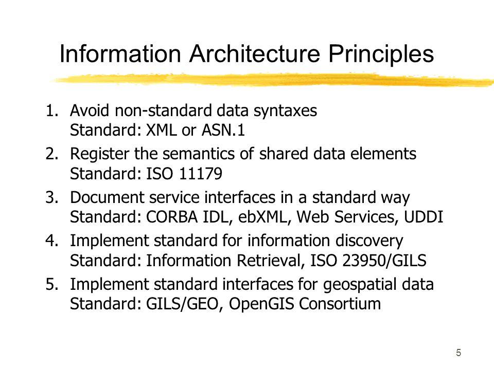 5 1. Avoid non-standard data syntaxes Standard: XML or ASN.1 2. Register the semantics of shared data elements Standard: ISO 11179 3. Document service