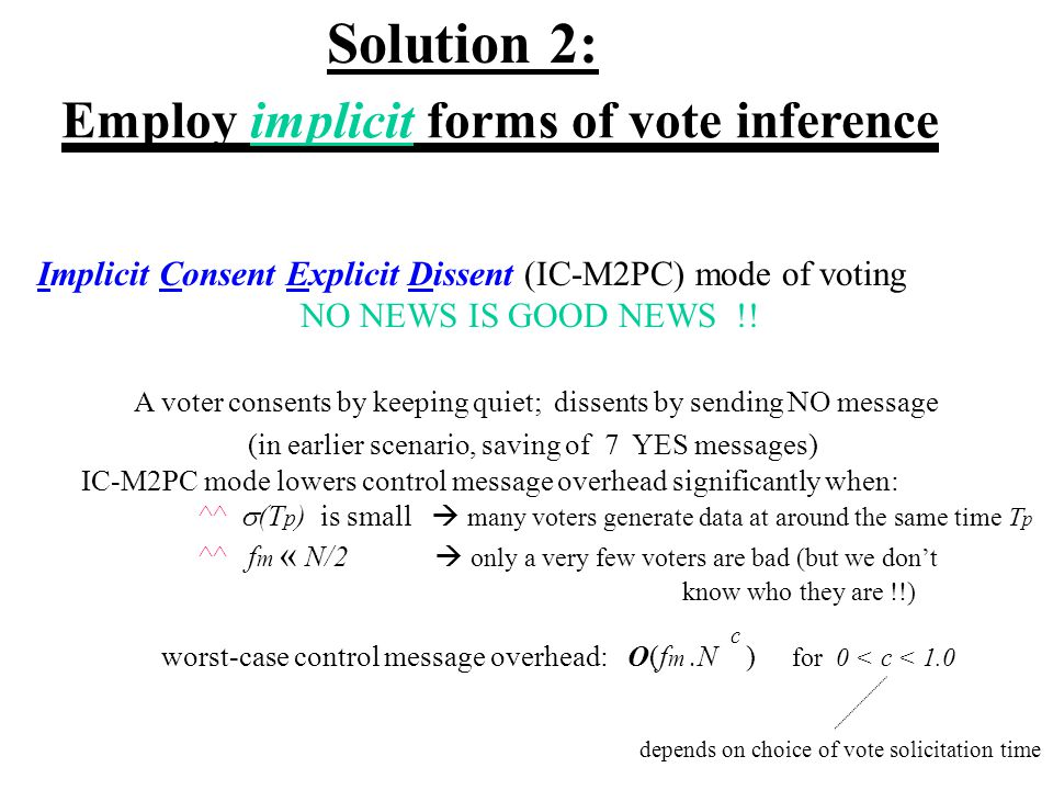 Employ implicit forms of vote inference Implicit Consent Explicit Dissent (IC-M2PC) mode of voting NO NEWS IS GOOD NEWS !.