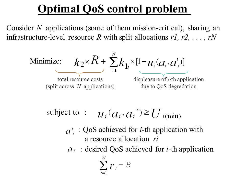 Optimal QoS control problem Consider N applications (some of them mission-critical), sharing an infrastructure-level resource R with split allocations r1, r2,..., rN Minimize: total resource costs (split across N applications) displeasure of i-th application due to QoS degradation : QoS achieved for i-th application with a resource allocation ri : desired QoS achieved for i-th application