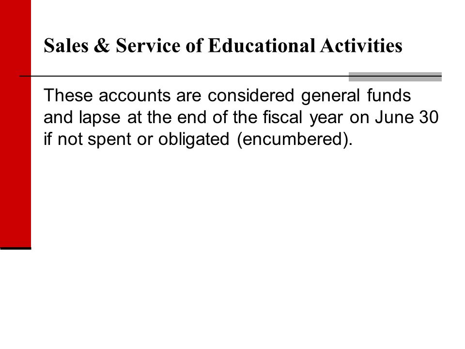 Sales & Service of Educational Activities These accounts are considered general funds and lapse at the end of the fiscal year on June 30 if not spent