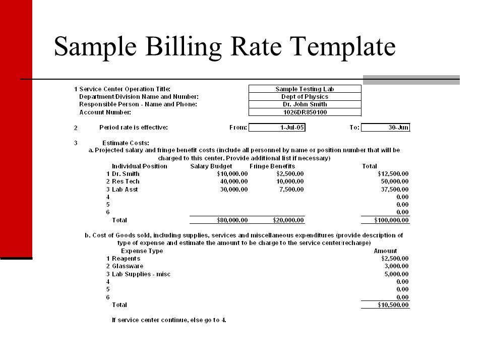 Sample Billing Rate Template
