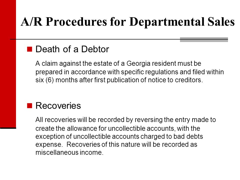 Death of a Debtor A claim against the estate of a Georgia resident must be prepared in accordance with specific regulations and filed within six (6) m