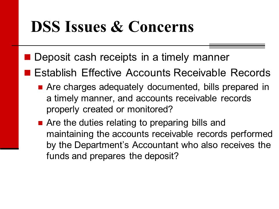 DSS Issues & Concerns Deposit cash receipts in a timely manner Establish Effective Accounts Receivable Records Are charges adequately documented, bill
