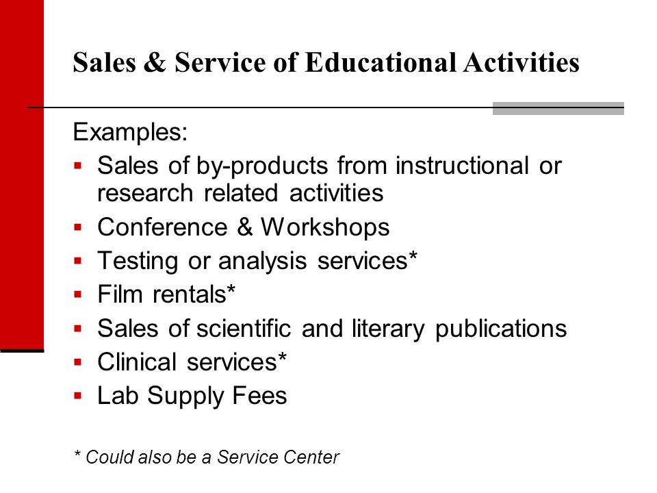 Sales & Service of Educational Activities Examples: Sales of by-products from instructional or research related activities Conference & Workshops Test