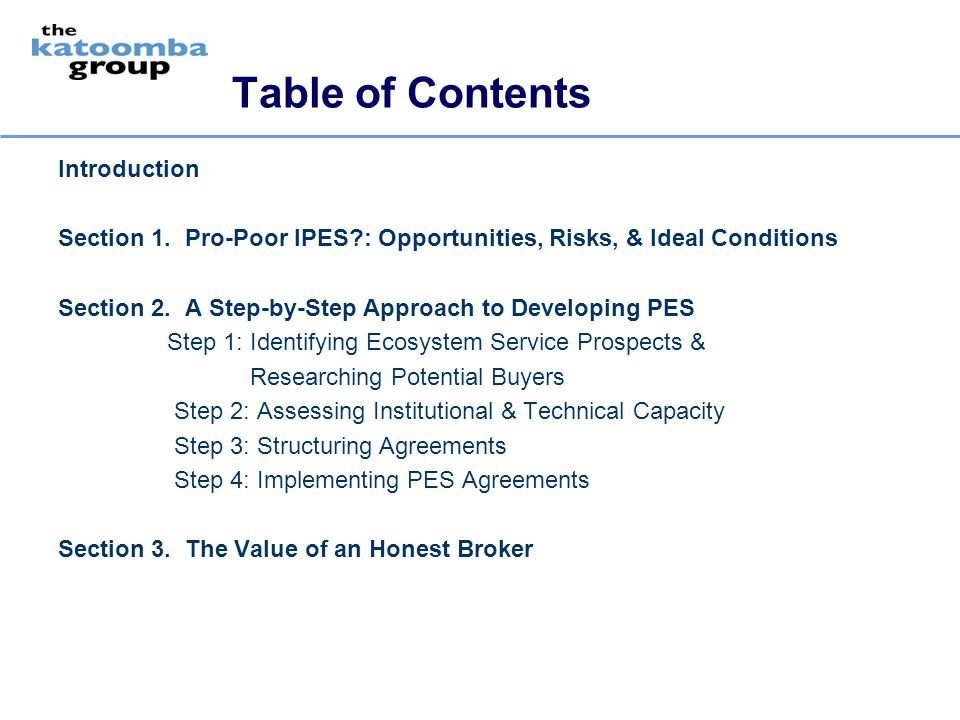 Table of Contents Introduction Section 1. Pro-Poor IPES?: Opportunities, Risks, & Ideal Conditions Section 2. A Step-by-Step Approach to Developing PE