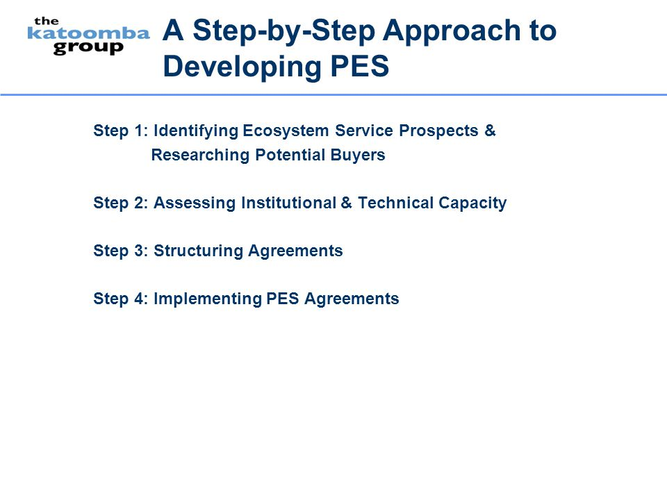 A Step-by-Step Approach to Developing PES Step 1: Identifying Ecosystem Service Prospects & Researching Potential Buyers Step 2: Assessing Institution