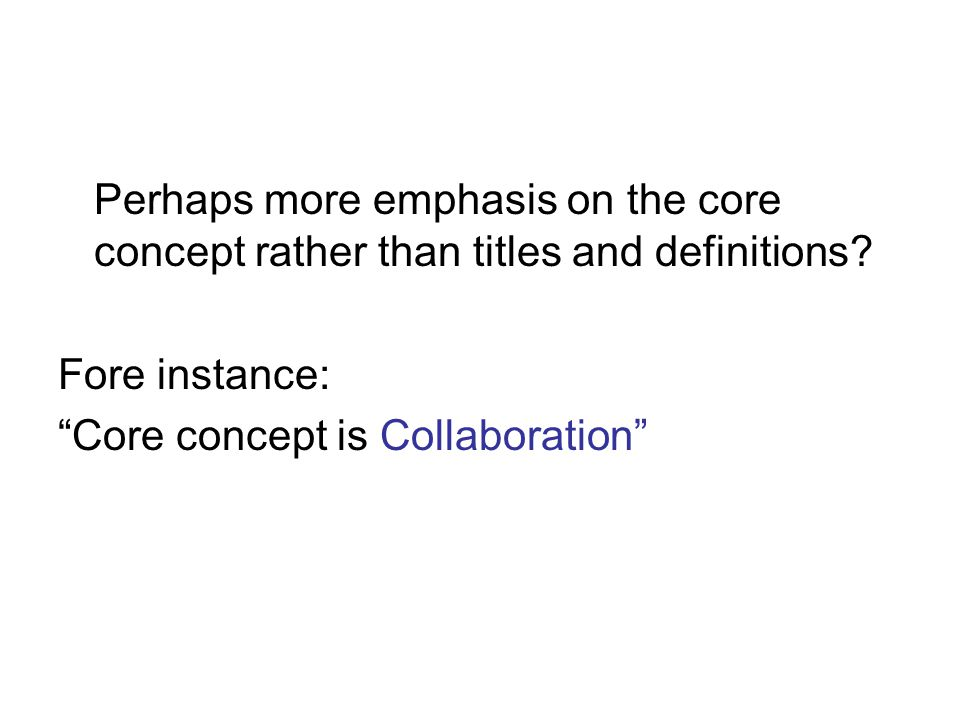 Perhaps more emphasis on the core concept rather than titles and definitions.