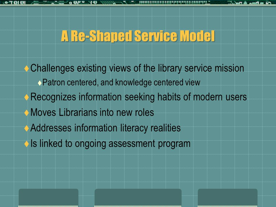 A Re-Shaped Service Model Challenges existing views of the library service mission Patron centered, and knowledge centered view Recognizes information seeking habits of modern users Moves Librarians into new roles Addresses information literacy realities Is linked to ongoing assessment program