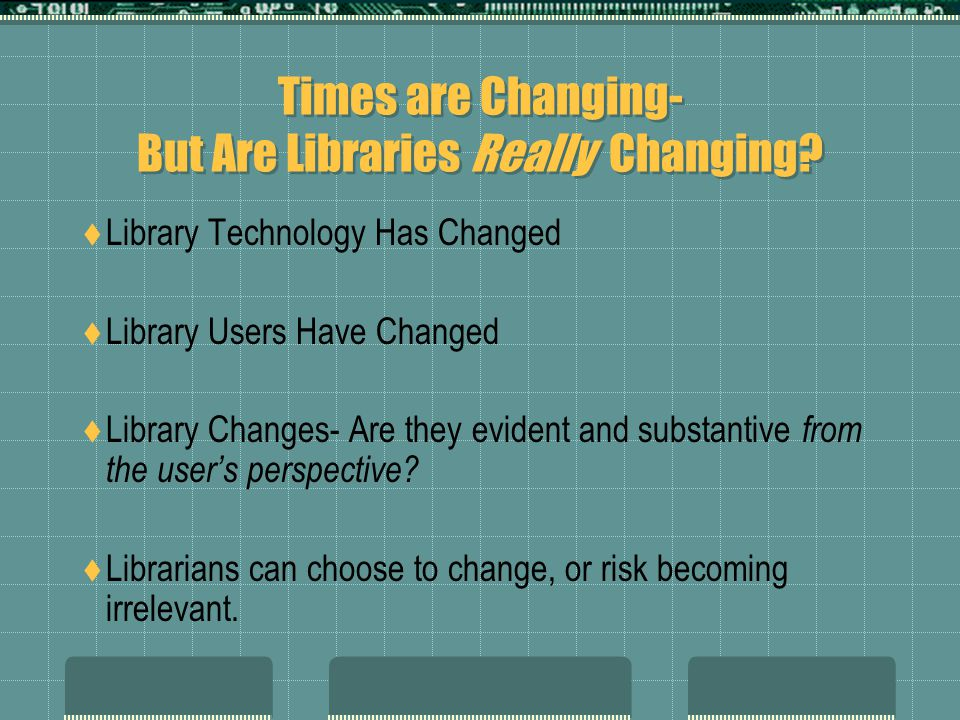 Times are Changing- But Are Libraries Really Changing.