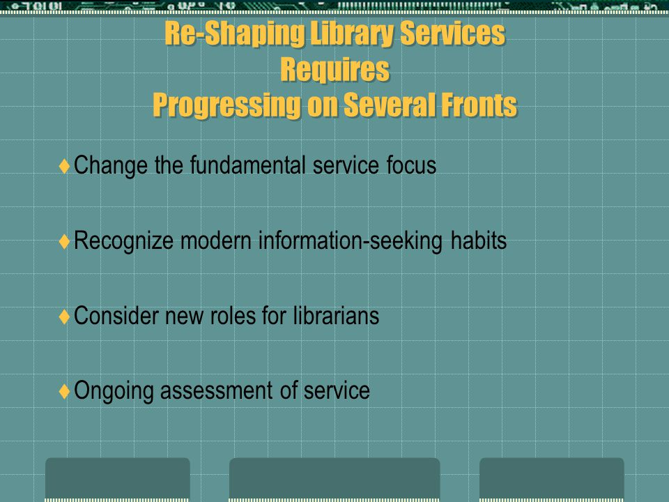 Re-Shaping Library Services Requires Progressing on Several Fronts Change the fundamental service focus Recognize modern information-seeking habits Consider new roles for librarians Ongoing assessment of service