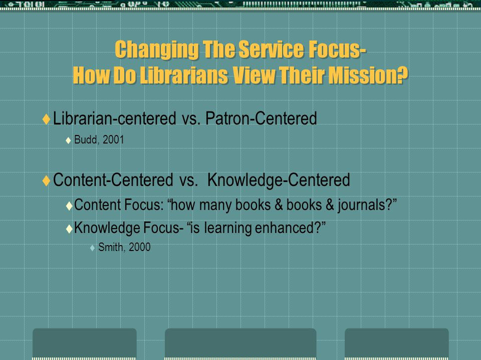 Changing The Service Focus- How Do Librarians View Their Mission.
