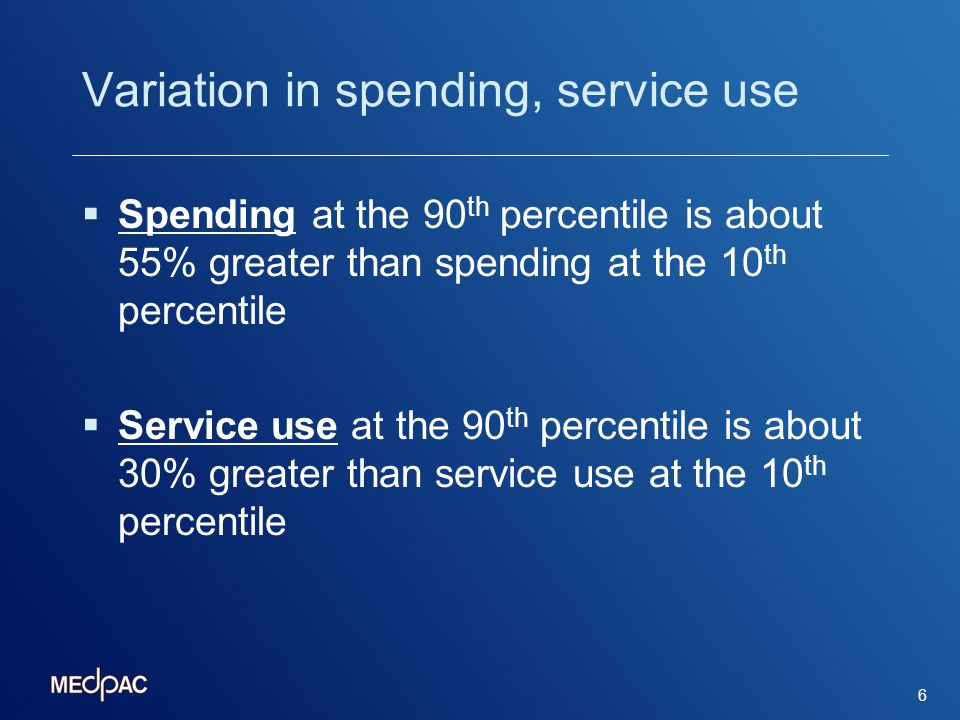 Variation in spending, service use Spending at the 90 th percentile is about 55% greater than spending at the 10 th percentile Service use at the 90 th percentile is about 30% greater than service use at the 10 th percentile 6
