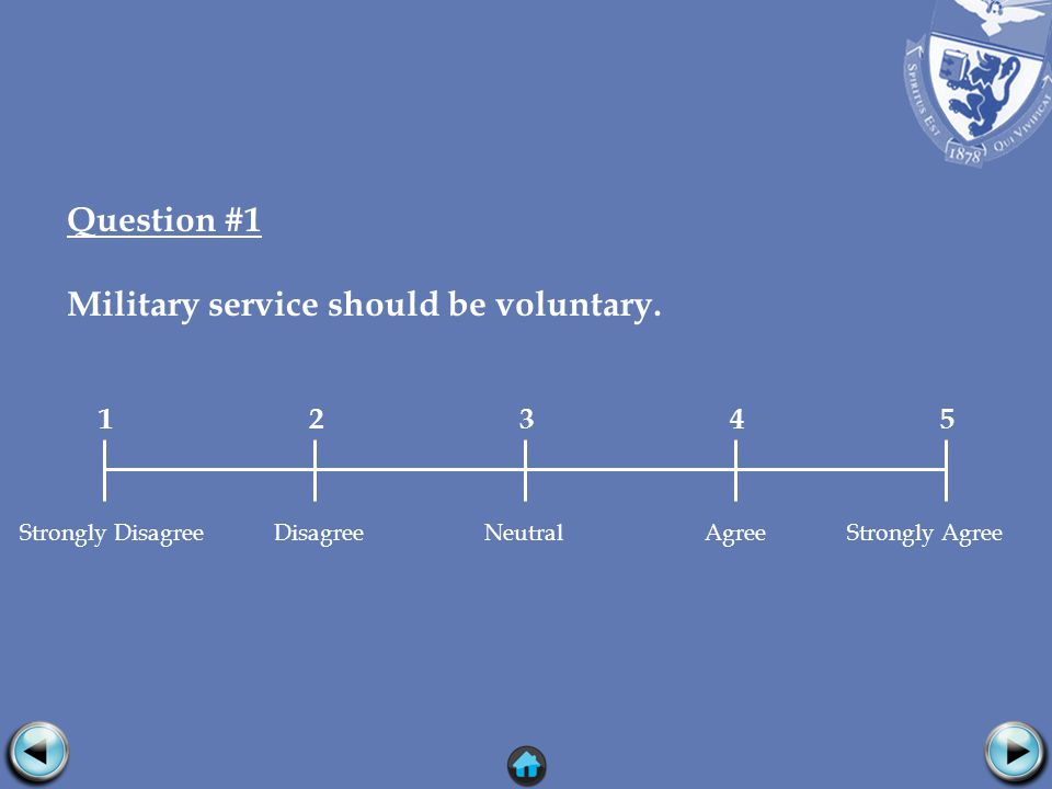 Question #1 Military service should be voluntary.