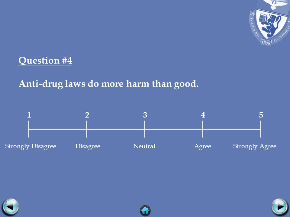 Question #4 Anti-drug laws do more harm than good.
