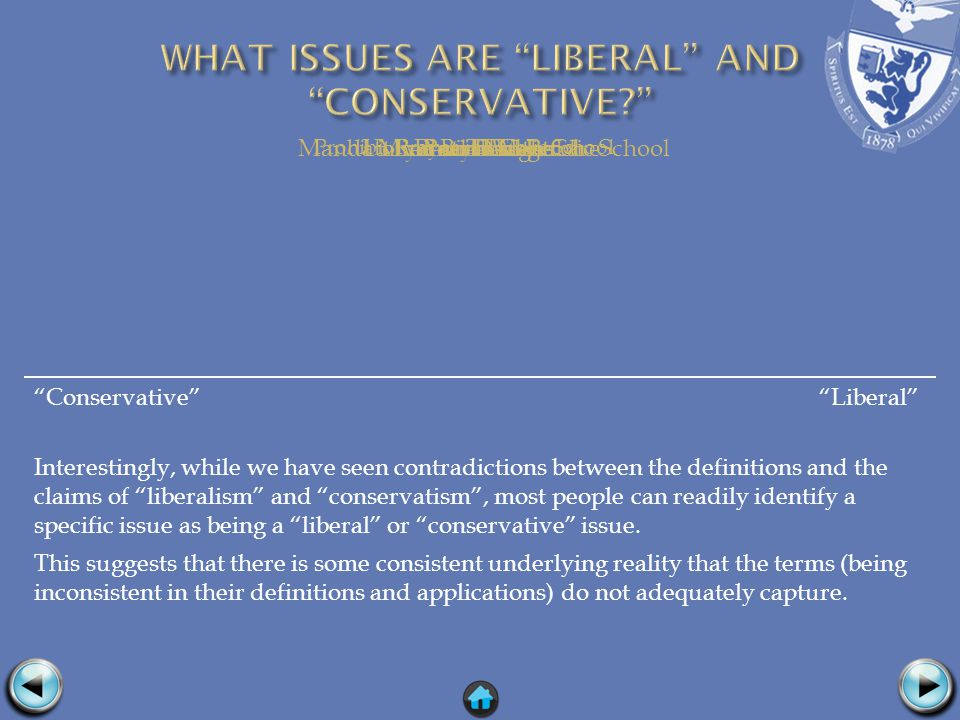 Conservative Liberal Interestingly, while we have seen contradictions between the definitions and the claims of liberalism and conservatism, most people can readily identify a specific issue as being a liberal or conservative issue.