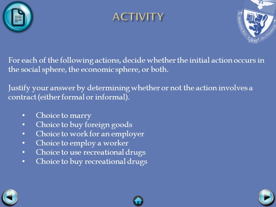 For each of the following actions, decide whether the initial action occurs in the social sphere, the economic sphere, or both.