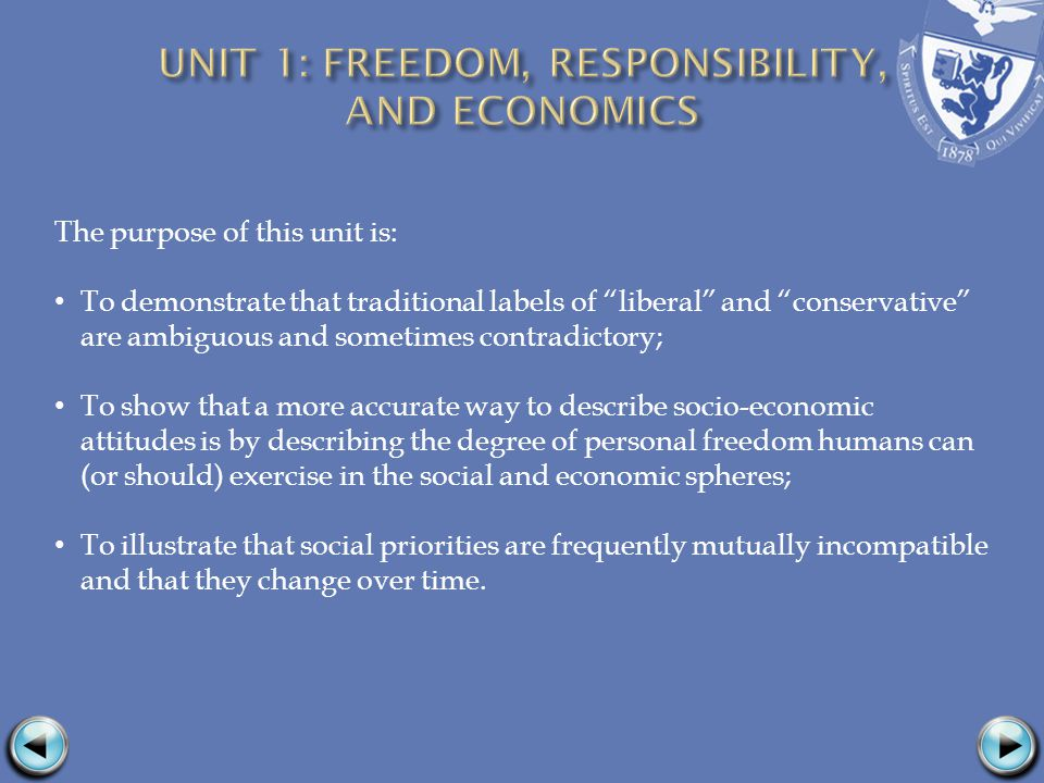 The purpose of this unit is: To demonstrate that traditional labels of liberal and conservative are ambiguous and sometimes contradictory; To show that a more accurate way to describe socio-economic attitudes is by describing the degree of personal freedom humans can (or should) exercise in the social and economic spheres; To illustrate that social priorities are frequently mutually incompatible and that they change over time.