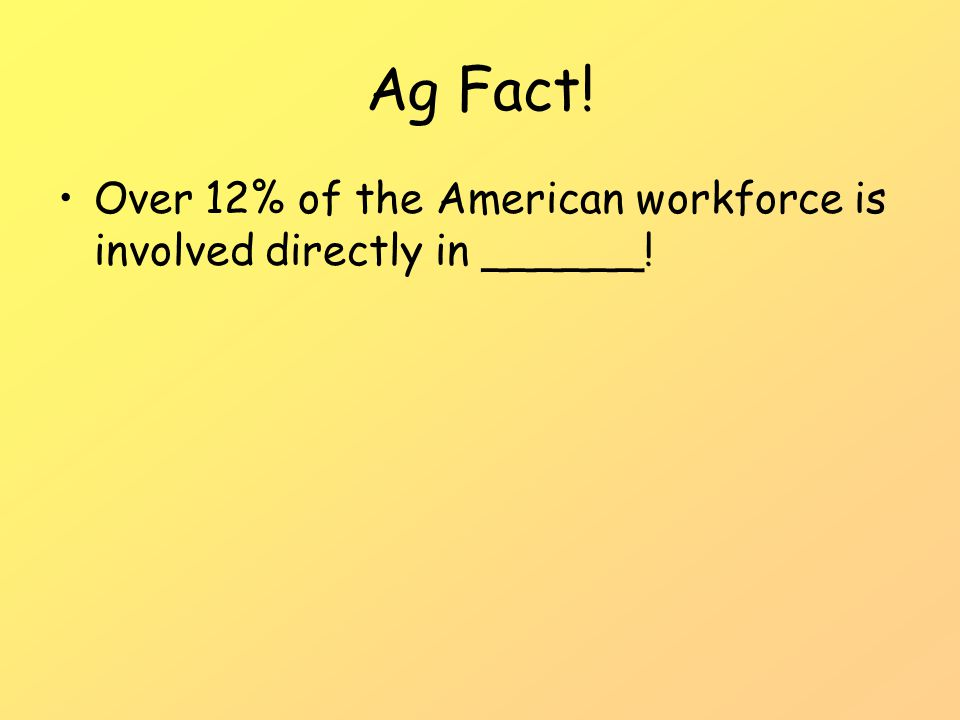 Ag Fact! Over 12% of the American workforce is involved directly in ______!