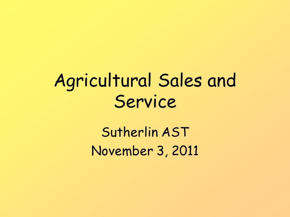 Agricultural Sales and Service Sutherlin AST November 3, 2011