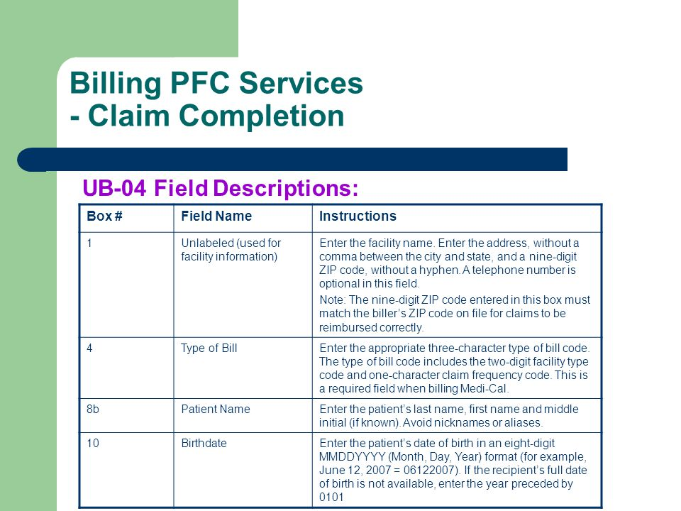 Billing PFC Services - Claim Completion UB-04 Field Descriptions: Box #Field NameInstructions 1Unlabeled (used for facility information) Enter the fac