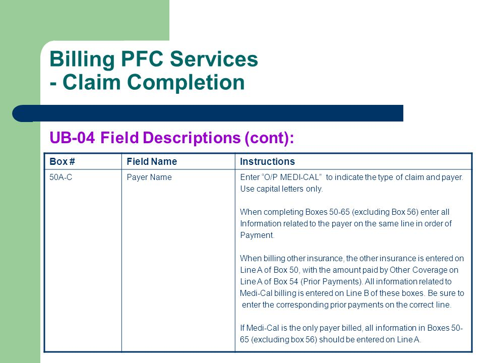 Billing PFC Services - Claim Completion Box #Field NameInstructions 50A-CPayer NameEnter O/P MEDI-CAL to indicate the type of claim and payer. Use cap