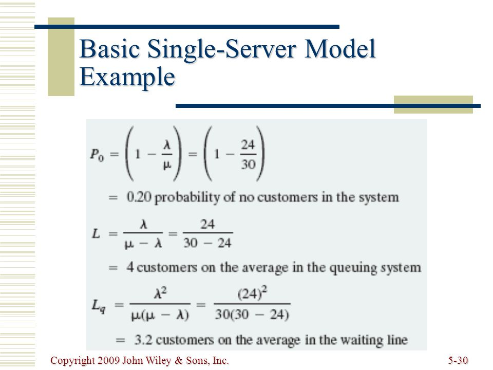 Copyright 2009 John Wiley & Sons, Inc.5-30 Basic Single-Server Model Example