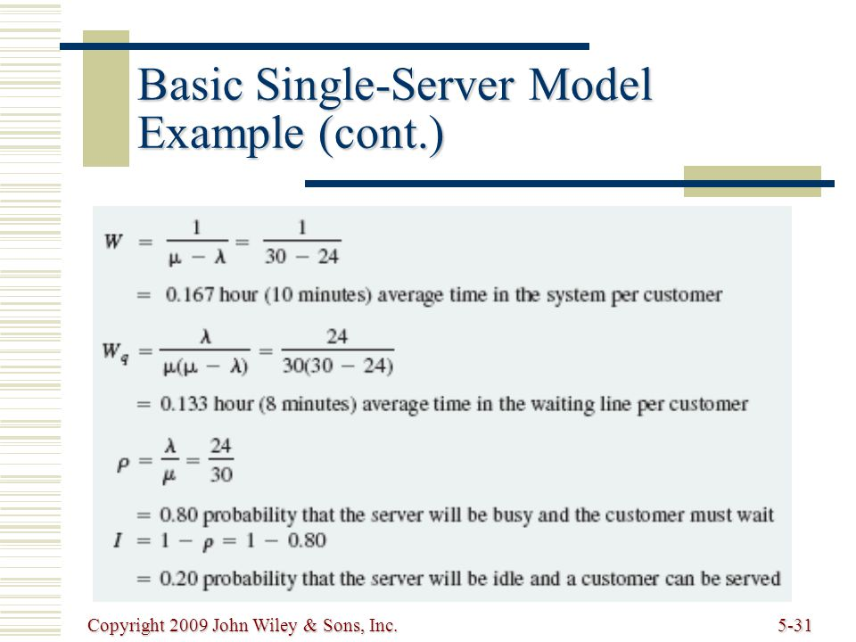 Copyright 2009 John Wiley & Sons, Inc.5-31 Basic Single-Server Model Example (cont.)