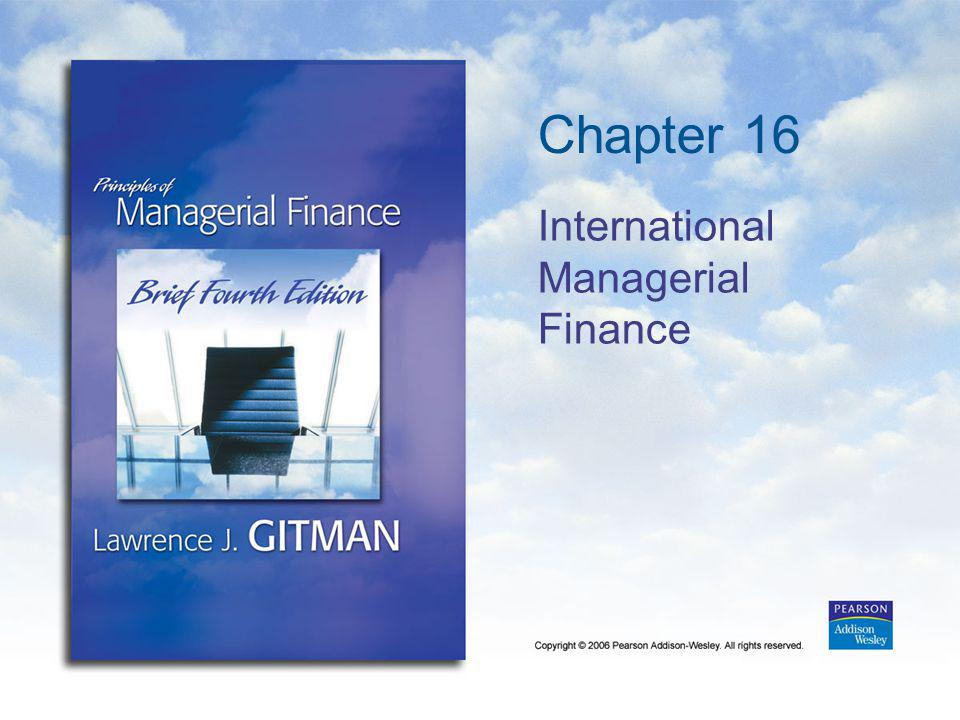 Chapter 16 International Managerial Finance