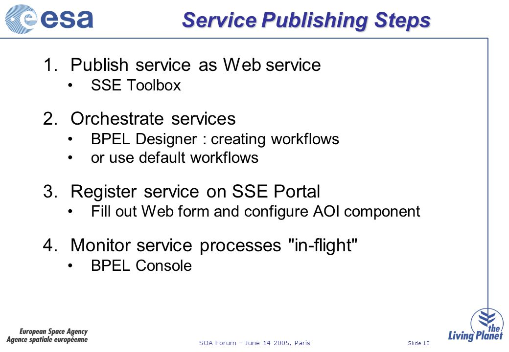 SOA Forum – June 14 2005, Paris Slide 10 Service Publishing Steps 1.Publish service as Web service SSE Toolbox 2.Orchestrate services BPEL Designer : creating workflows or use default workflows 3.Register service on SSE Portal Fill out Web form and configure AOI component 4.Monitor service processes in-flight BPEL Console