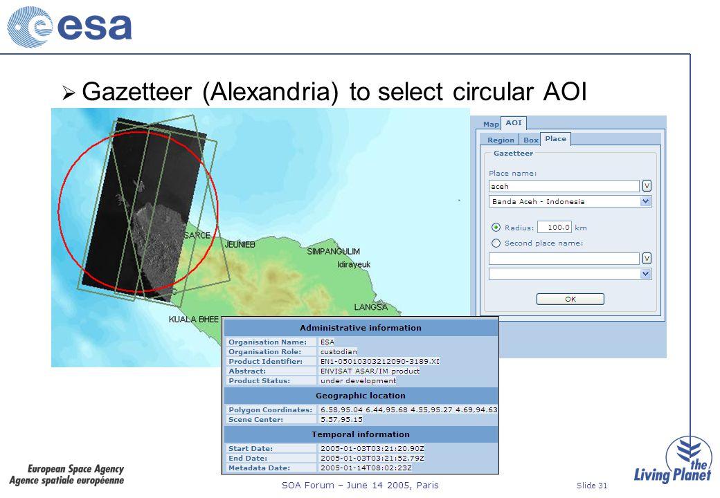 SOA Forum – June 14 2005, Paris Slide 31 Gazetteer (Alexandria) to select circular AOI