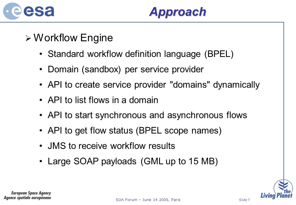 SOA Forum – June 14 2005, Paris Slide 18 Step 4: Service Monitoring Supports 100% manual services via task list Service provider can enters service result as text (e.g.