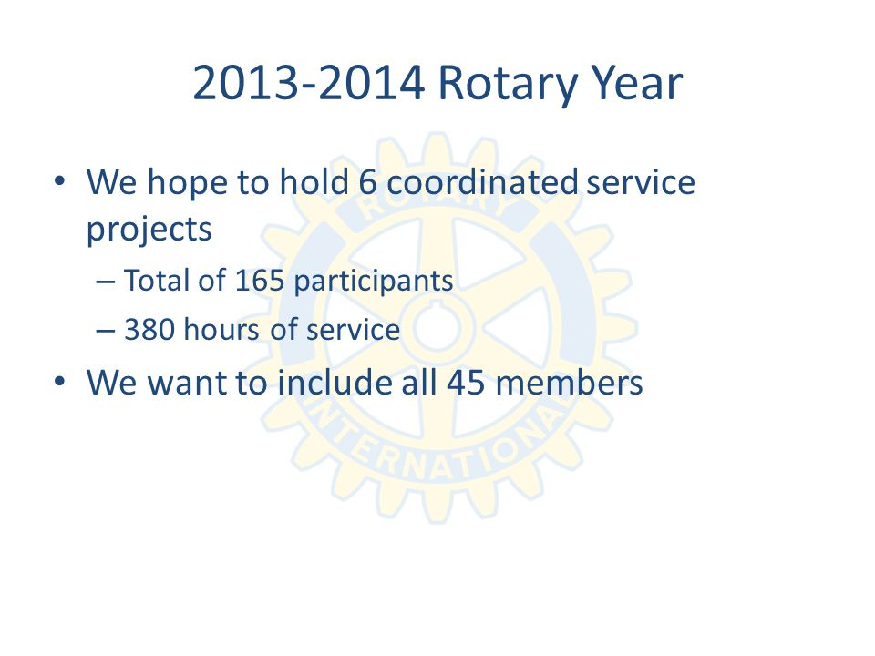 Rotary Year We hope to hold 6 coordinated service projects – Total of 165 participants – 380 hours of service We want to include all 45 members