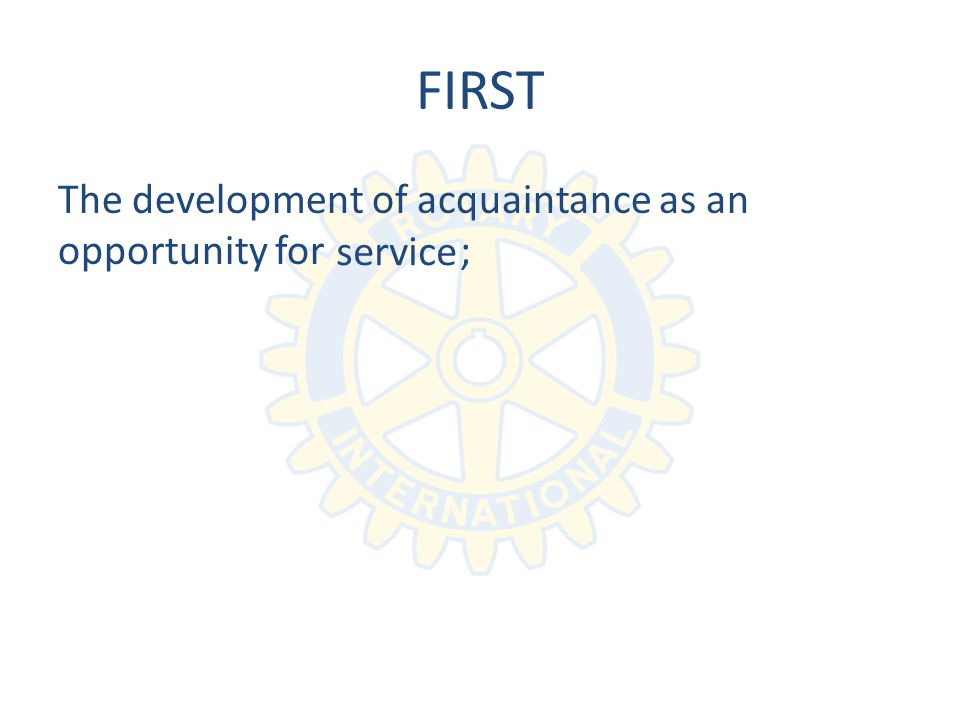 FIRST The development of acquaintance as an opportunity for ; service