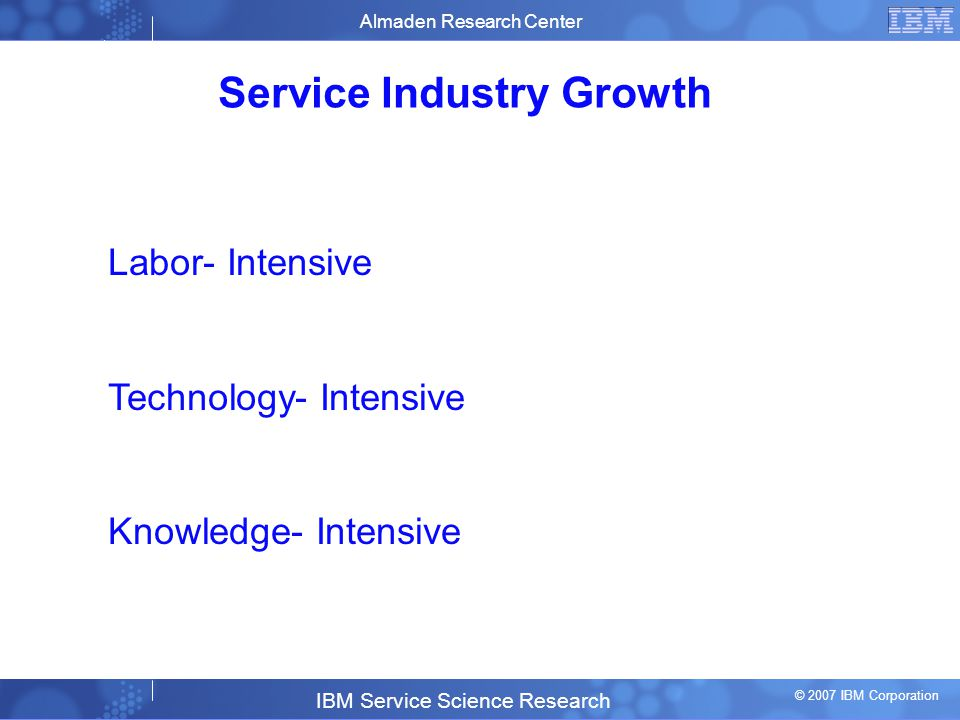 Business Unit or Product Name © 2007 IBM Corporation 5 Service Industry Growth Almaden Research Center IBM Service Science Research © 2007 IBM Corporation Labor- Intensive Technology- Intensive Knowledge- Intensive