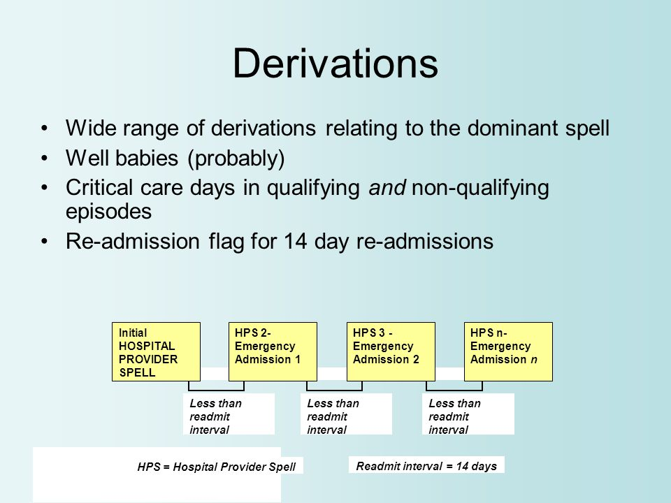 Derivations Wide range of derivations relating to the dominant spell Well babies (probably) Critical care days in qualifying and non-qualifying episodes Re-admission flag for 14 day re-admissions Less than readmit interval HPS n- Emergency Admission n HPS = Hospital Provider Spell Readmit interval = 14 days Less than readmit interval HPS 3 - Emergency Admission 2 Less than readmit interval HPS 2- Emergency Admission 1 Initial HOSPITAL PROVIDER SPELL